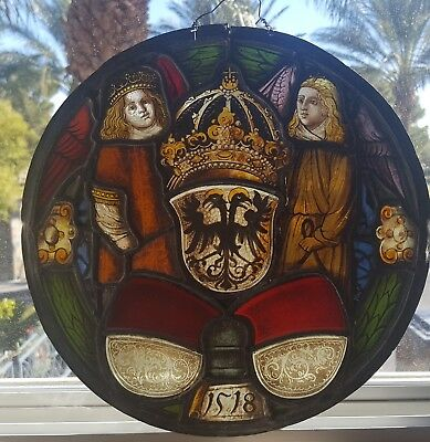 German Renaissance Antique Stained Glass Armorial Rondel