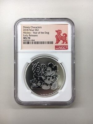 2018 NGC MS70 Niue Disney Mickey Mouse 1oz .999 Fine Silver Year of the Dog Coin