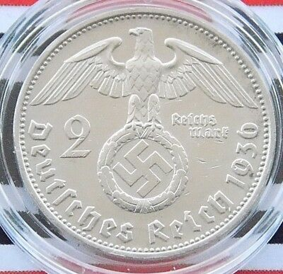 GERMAN Coin 1936 G 2 MARK Reichsmark SWASTIKA Hindenburg Silver 3RD WW2 + RARE+