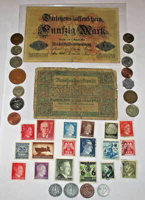 GERMAN REICH NAZI COINS WITH SWASTIKAS! STAMPS! WORLD COINS! BANKNOTES! (tr7)