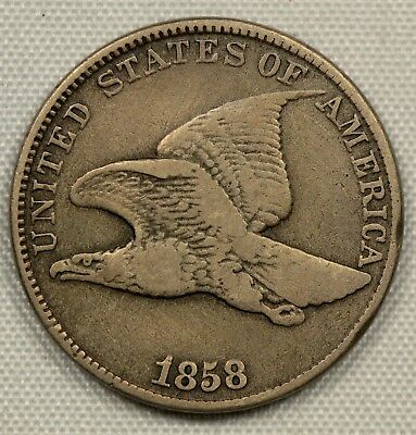 CIRCULATED 1858 LARGE LETTERS FLYING EAGLE CENT LL 1c         (BC1)