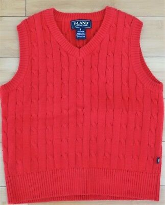 E Land Boys' 5 Red Cable Knit Sweater Vest EUC