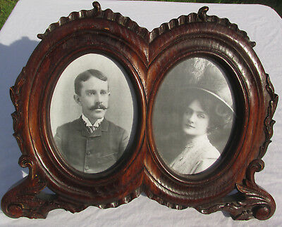 Antique Style Double Oval 5x7 Wooden Picture Frame