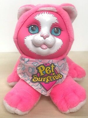 1993 Hasbro Pet Surprise Kitty Cat Plush Hot Pink Working Sound Scarf 8755 5""