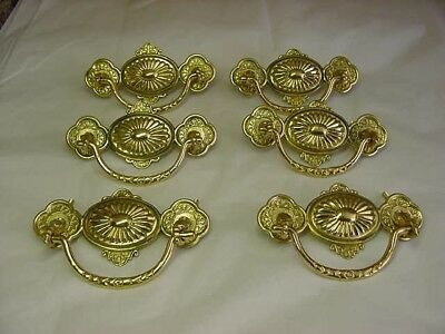 6 Vintage Nos Brass Ornate Repro Victorian Drawer Pulls  Not Antiques