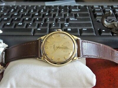 Vintage 1956 Omega 10K Gold Filled Bezel Mov 490 Mens Watch w/ 17mm Leather Band