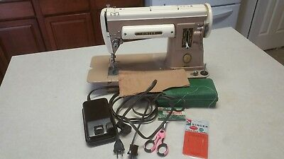 Vintage Singer Model 301A Sewing Machine, Two Tone, Extras Featherweight Sister