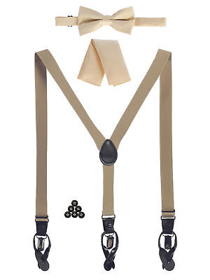 Suspender Boys' Children Convertible Suspenders+ Bow Tie+ Pocket Square Kids Nwt