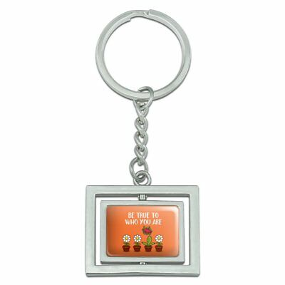 Be True To Who You Are Flowers Plants Spinning Rectangle Chrome Metal Keychain
