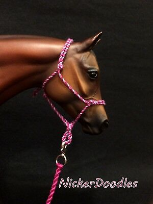 Model horse rope halter and lead rope-Traditional(1:9) size-Berry Magic
