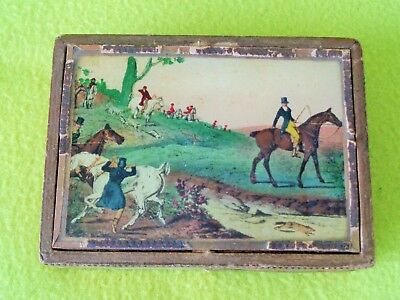 Antique Reverse Painted Glass Equestrian Hunt Horse Card or Cigarette BOX~NO RES