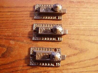 3--MATCHING   Antique victorian  Cast Iron Cabinet Cupboard Door Latches