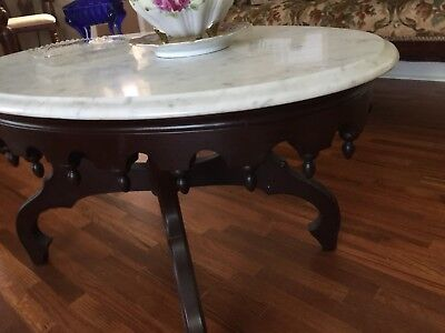 ANTIQUE VICTORIAN COFFEE TABLE - Oval Beveled Marble Top - CHERRY WOOD Base