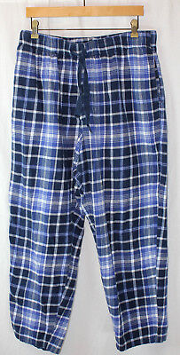 Mens XL Pajama Pants  Weighted Flannel Vtg - Scandia Woods Blue Plaid