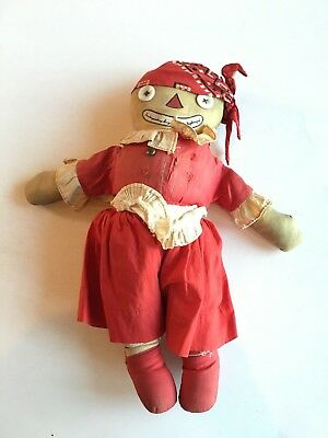 1920's Black Americana ANTIQUE Cloth Doll nearly 100 years old ALL ORIGINAL