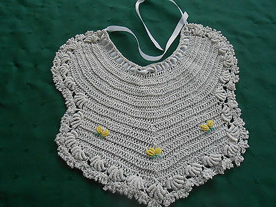 Charming Large Hand Crochet Baby Bib With Hand Embroidery , Vintage 1930
