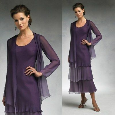 Purple Mother Pant Suit Mother of The Bride Groom Dress Chiffon Wedding Size 20W