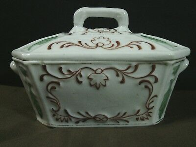 Exquisite Antique Russian Porcelain Hand Painted Floral Embossed Dish w/lid