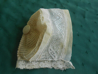 Antique Net Lace Baby Bonnet With Madeira Hand Embroidery, Circa 1915