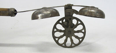 Antique 19th Century Victorian Cast Iron Children's Double Bell Push Toy #2 yqz