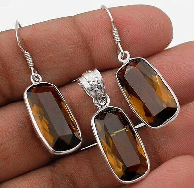 "22CT Smoky Topaz  925 Solid Sterling Silver Earrings Jewelry 1 1/2"" Long"