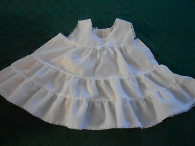 Antique Baby Slip In Very Good Condition With White Lace Trim, Circa 1960