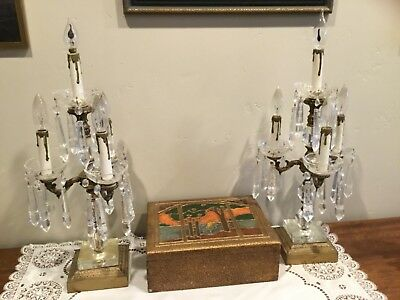 Vintage Antique Pair Of Candelabra Chandelier Table Lamps With Crystal Prisms