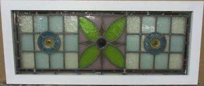 "LARGE OLD ENGLISH LEADED STAINED GLASS WINDOW Beautiful Floral 38.5"" x 16.75"""