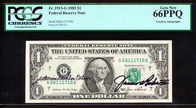 """1985 $1 Chicago Frn """"courtesy Autographed"""" Pcgs Gem New 66Ppq Uncirculated Rare!"""
