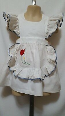 Vtg 1960's? Toddler Girl Cotton Applique Flutter Sleeve Big Sash Pinafore 3