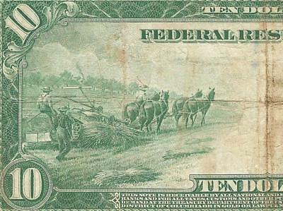 Large 1914 $10 Dollar Bill Federal Reserve Jackson Note Big Paper Money Currency