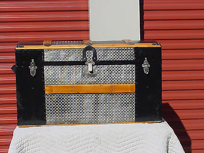 Antique Trunk  Embossed Tin  Circa 1880's 130 Years Old?  Beautiful Restoration
