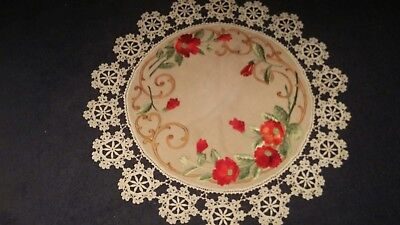 Amazing Vintage Arts and Crafts Hand Embroidered Round Table Covering Cloth