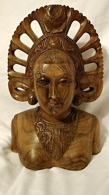 """Klungkung GODDESS Woman Bust Hand Carved Hard Wood Bali Indonesian Statue 10"""""""