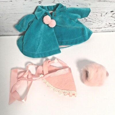 Vintage Vogue Ginny doll coat  Turquoise velvet Pink fur muff and hat pompom