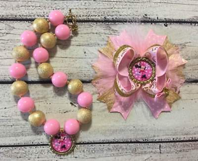 Pink /Gold Minnie Mouse Hair Bow and Chunky Bead Necklace/Bubblegum Necklace Set