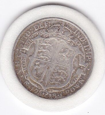 1918   King  George V  Half  Crown  (2/6d) -  Silver  (92.5%)  Coin