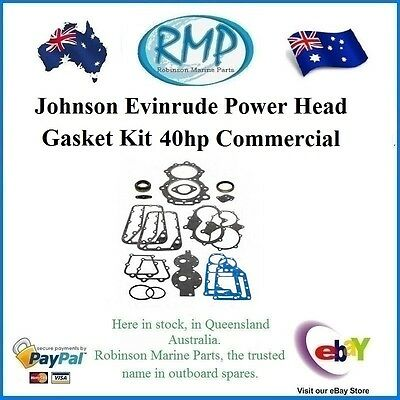 A New Powerhead Gasket Kit Evinrude Johnson 40hp Commercial Models # 390700