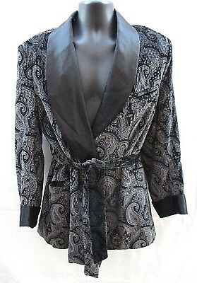 Classic Vintage Saks Fifth Ave Mens L Velour & Satin Paisley Smoking Jacket Robe