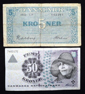 Lot of Two Different BANKNOTES From DENMARK- 1949 & 1996