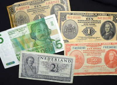 Lot of MIXED BANKNOTES From NETHERLANDS + DUTCH INDIES