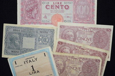 Lot of MIXED 1940's WWII BANKNOTES From ITALY- 100 Lire + More!