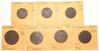 Lot of Seven Different 1700's COINS From SWEDEN- 1720-1799