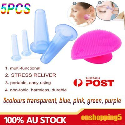5X Silicone Face Eye Cupping Jar Facial Massage Cups & Cleansing Brush Massager