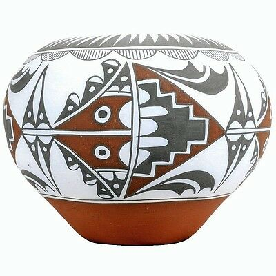 """Jemez Indian Polychrome 6"""" POTTERY VASE URN Native American Hand Made in USA"""