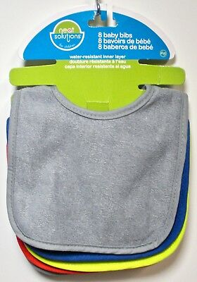 Neat Solutions - Baby Bibs Pack of 5 for Children Grey Blue Green Red - NEW