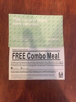 Lot (8)Taco Bell Combo Meal Coupon Vouchers EXP 12/31/18