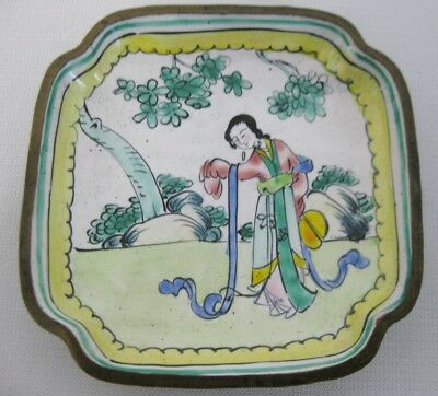 Antique Vintage c.1920's Chinese Canton Enamel Figural Woman Pin Tray