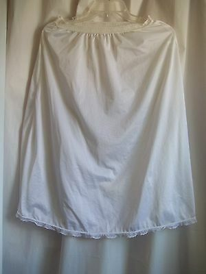 """Woman's Half Slip White Medium 24 - 28"""" Waist Lace Top and Bottom Made in USA"""