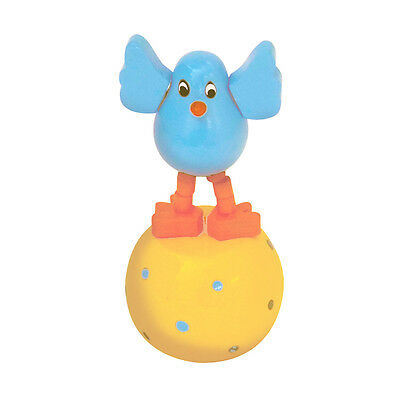 Classic Wooden Toy Push Puppet Cheery Chick Blue w/Yellow Egg Chicken Easter